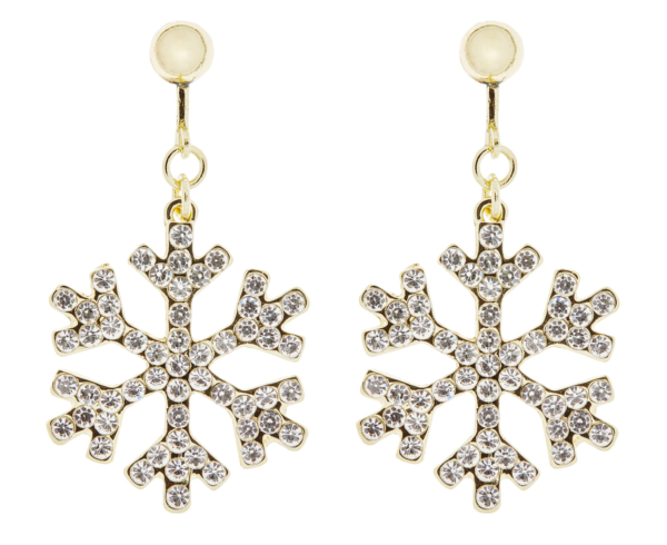 Clip On Earrings - Millie G - gold snowflake earring with clear crystals