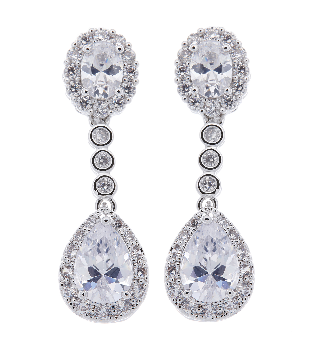 Clip On Earrings - Misty - silver luxury drop earring with clear cubic zirconia crystals and stones