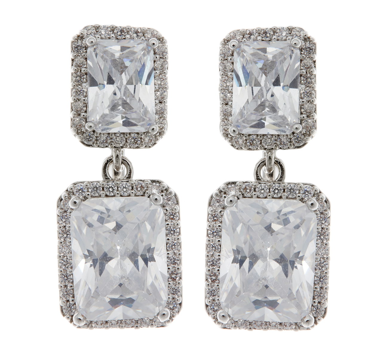 Clip On Earrings - Moira - silver luxury drop earring with two cubic zirconia stones and crystals