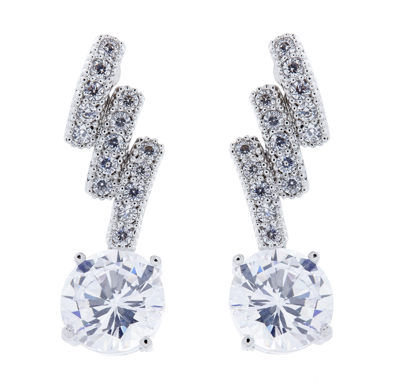 Clip On Earrings - Molly - silver luxury drop earring with clear cubic zirconia crystals and stone