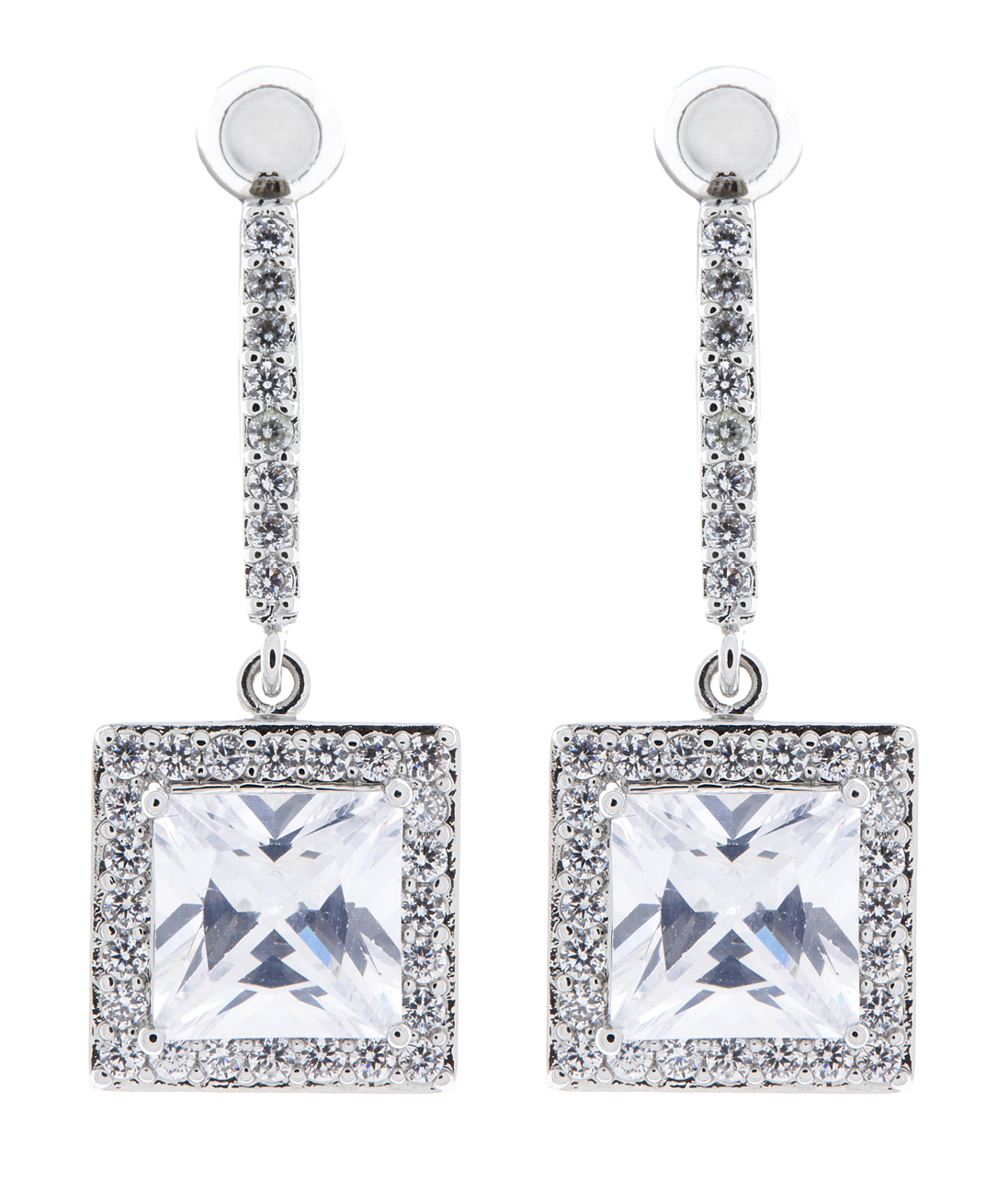 Clip On Earrings - Mya - silver earring with clear cubic zirconia crystals and a square stone