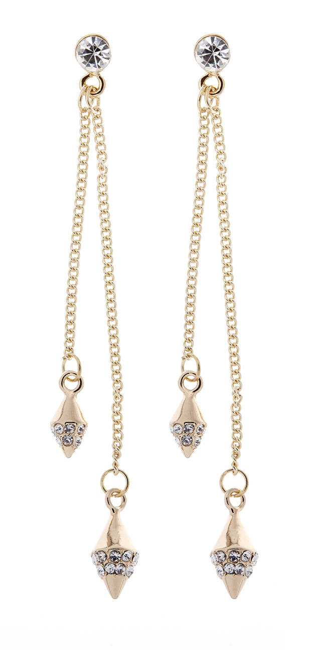 Clip On Earrings - Wallis - gold drop earring with gold chains and crystals