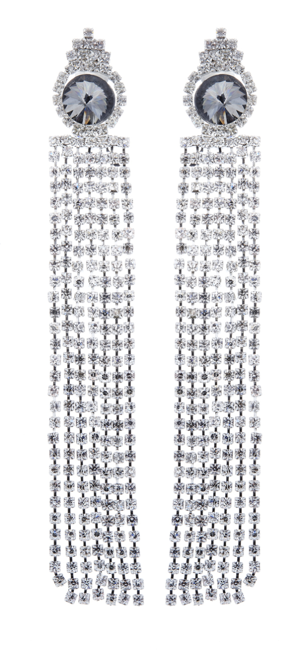 Clip On Earrings - Veda S - silver chandelier earring with clear crystal strands