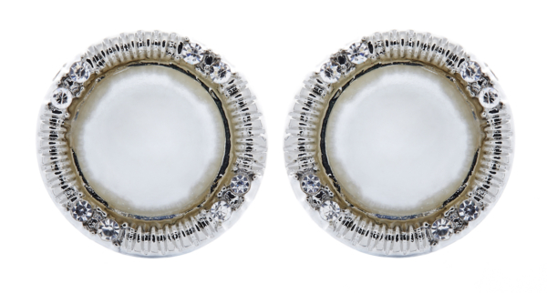 Clip On Earrings - Venus - silver pearl stud earring with crystals