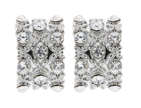 Clip On Earrings - Vera - silver stud earring with clear rhinestone crystals
