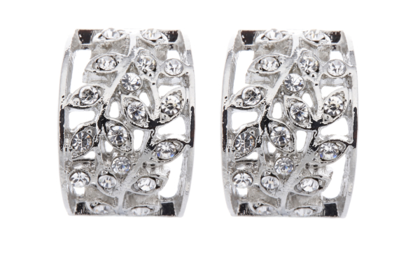 Clip On Earrings - Verity - silver leaf stud earring with clear crystals