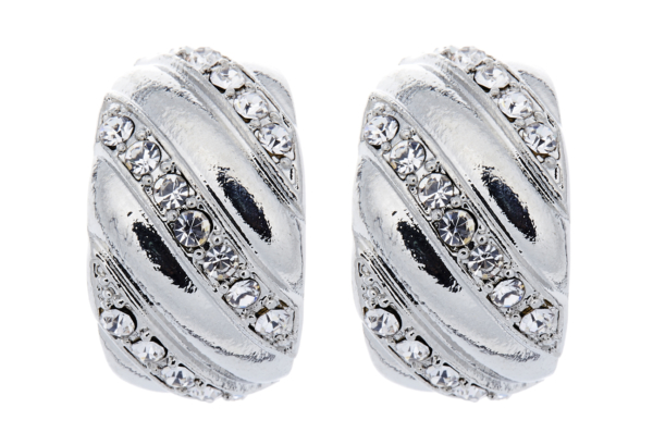Clip On Earrings - Veronica - silver huggie earring with bands of clear crystals