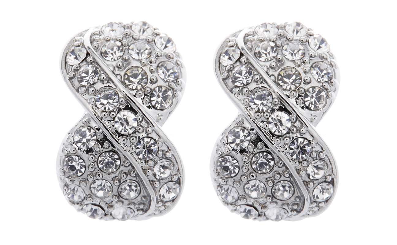Clip On Earrings - Vienna - silver knot earring with clear rhinestone crystals