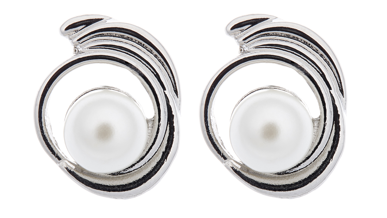 Clip On Earrings - Viola - silver swirl stud earring with a large pearl