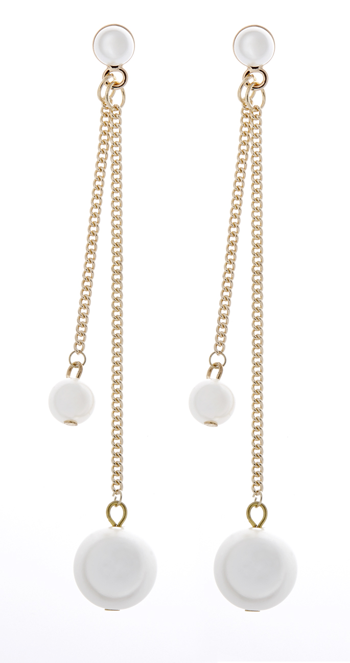 Clip On Earrings - Winona - gold drop earring with gold chains and pearls
