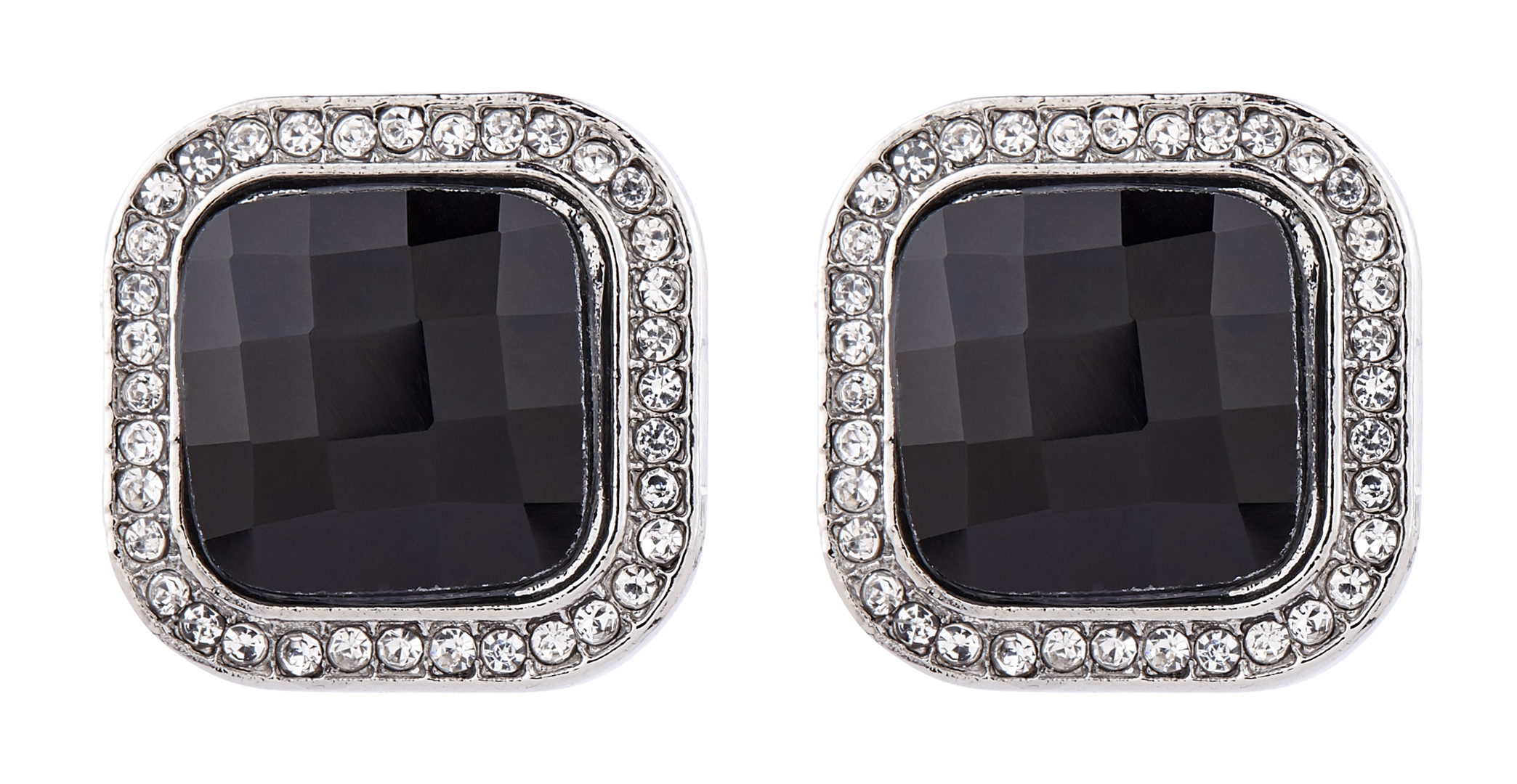 Clip On Earrings - Wendy - silver stud earring with crystals and a black stone