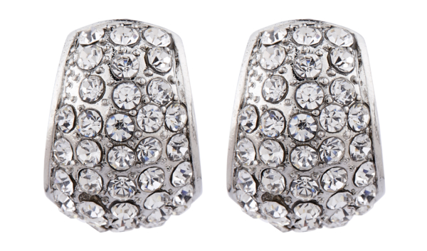 Clip On Earrings - Willa - silver curved huggie earring with crystals