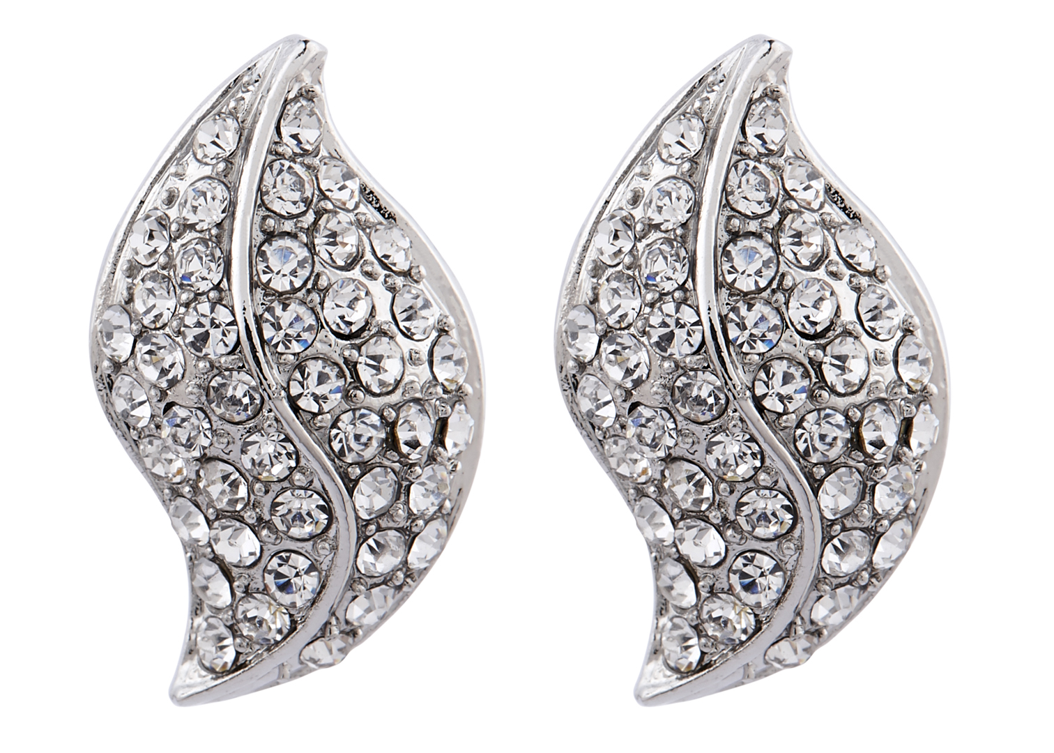 Clip On Earrings - Willow S - silver stud earring with clear crystals