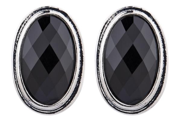 Clip On Earrings - Winnie - silver stud earring with a black oval stone