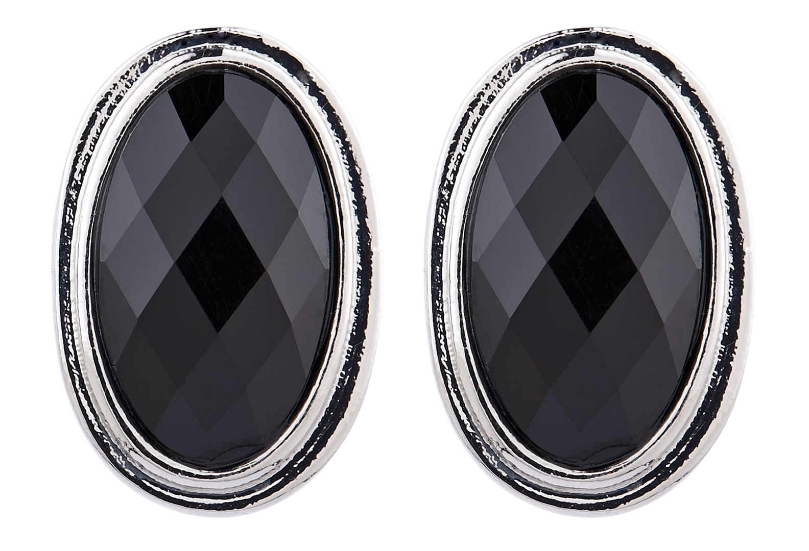 Clip On Earrings - Winnie - silver stud earring with a black oval stone