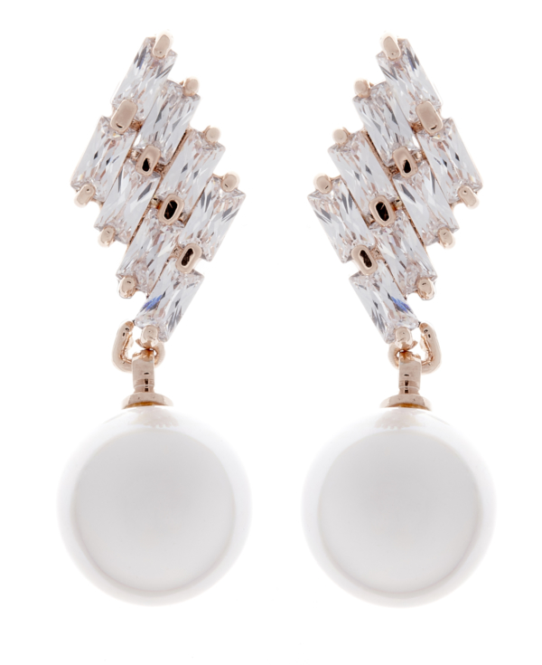 Clip On Earrings - Abi - gold pearl drop earring with clear crystals