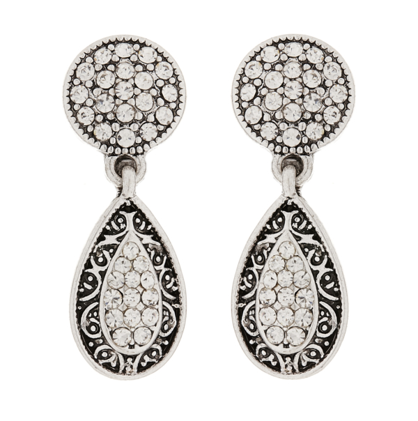 Clip On Earrings - Abigail - silver drop earring with clear crystals