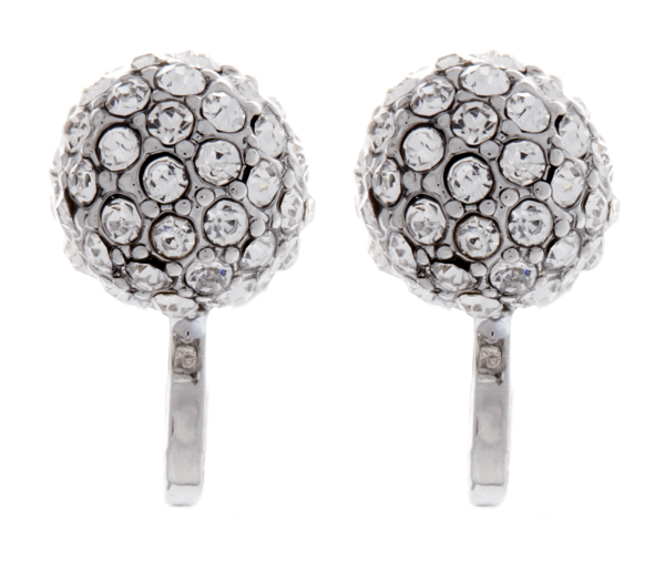 Clip On Earrings - Ada - silver ball earring with clear crystals