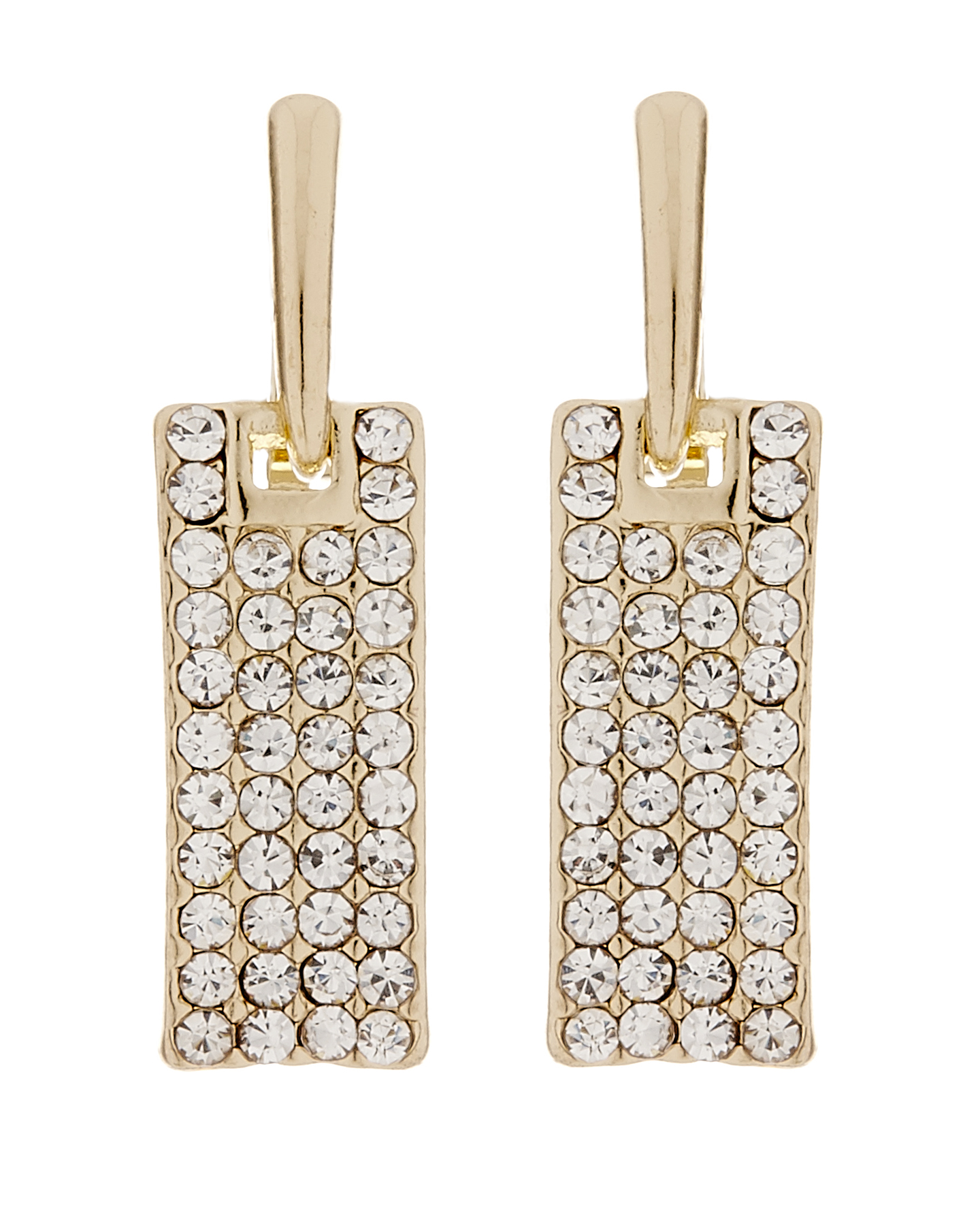Clip On Earrings - Adele G - gold drop earring with clear crystals