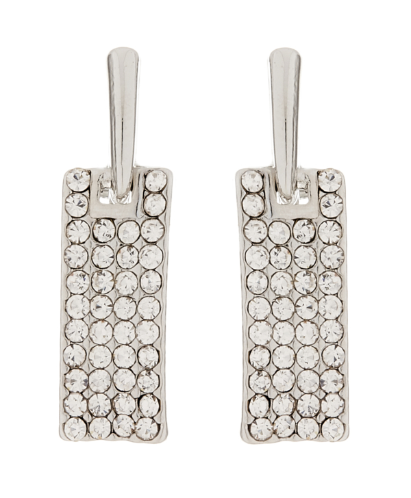 Clip On Earrings - Adele S - silver drop earring with clear crystals