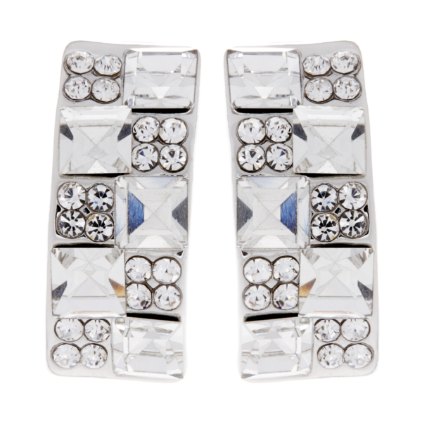 Clip on earrings - Agatha - silver earring with clear crystals and stones