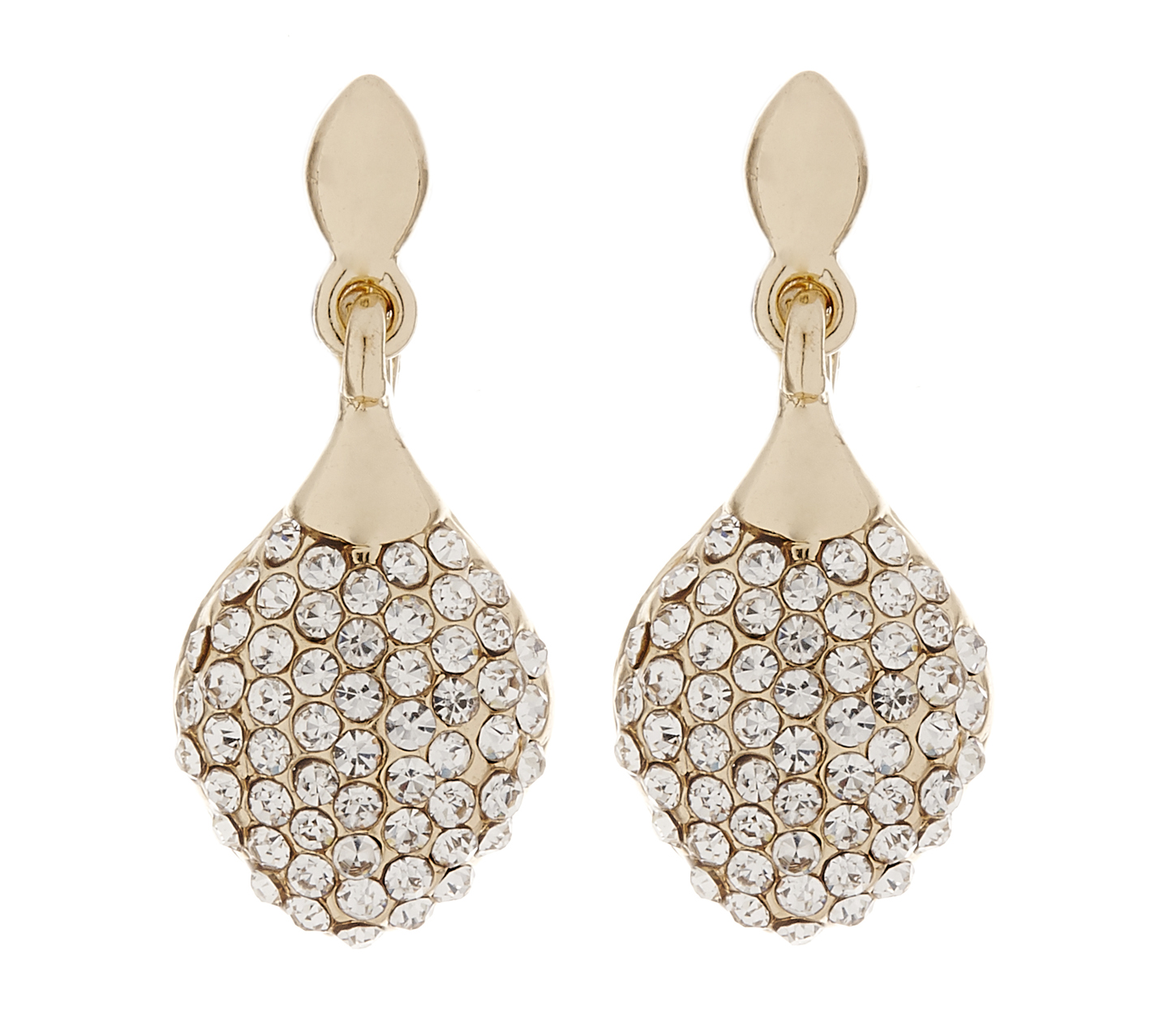 Clip On Earrings - Agnes G - gold drop earring with clear crystals