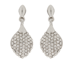 Clip On Earrings - Agnes S - silver drop earring with clear crystals