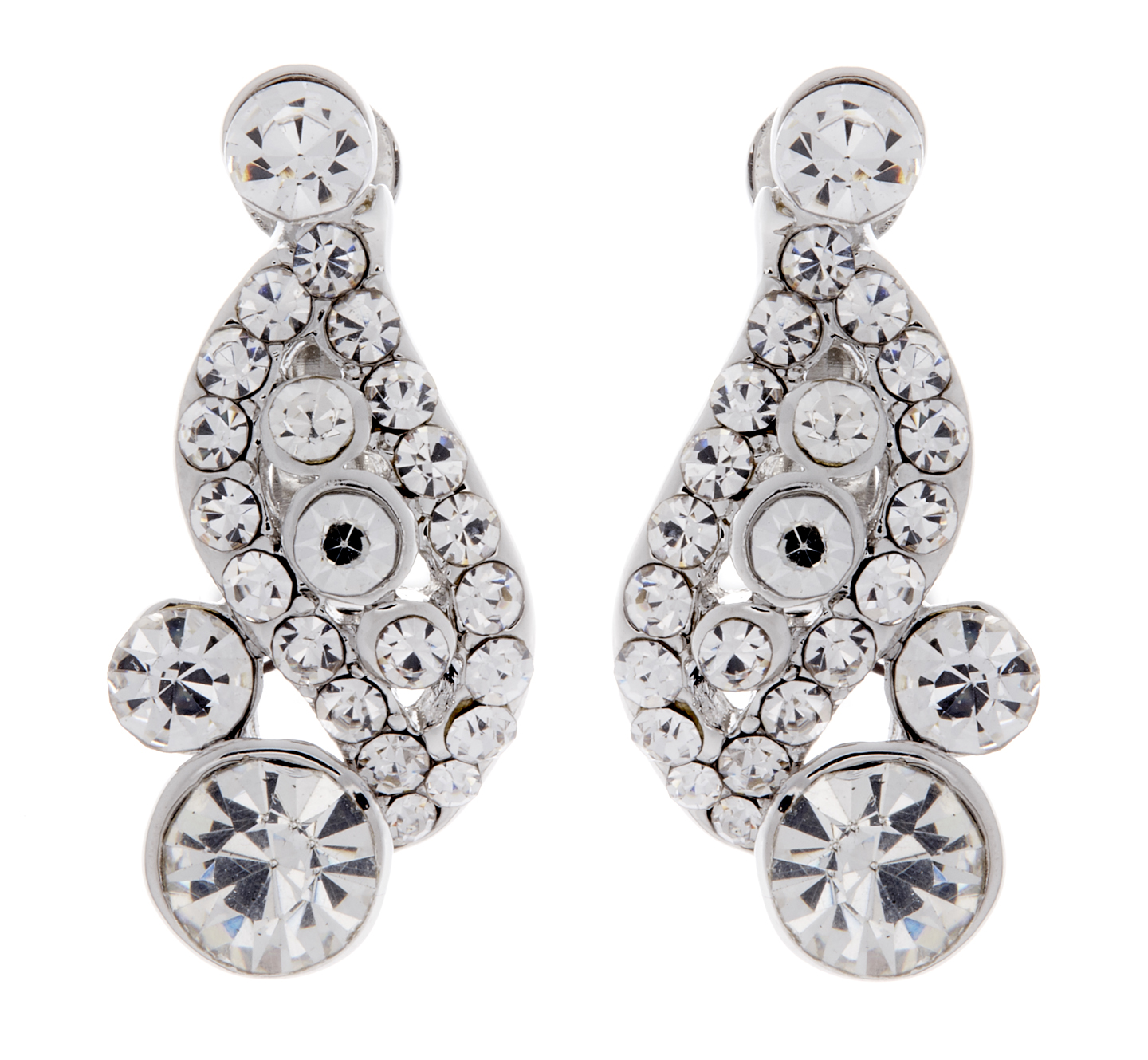 Clip On Earrings - Alana - silver stud earring with clear crystals and stones