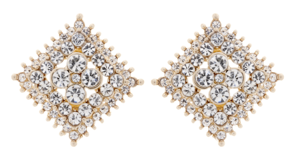 Clip On Earrings - Alex - gold stud earring with clear crystals