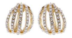 Clip On Earrings - Alexis - gold earring with clear crystals