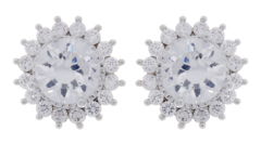 Clip On Earrings - Ali - silver luxury earring with a cubic zirconia stone and crystals