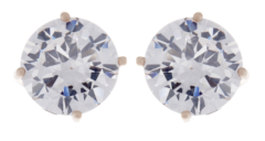 Clip On Earrings - Alisha G - gold stud earring with a clear cubic zirconia stone