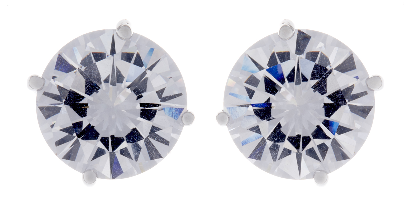 Clip On Earrings - Alisha S - silver stud earring with a clear cubic zirconia stone