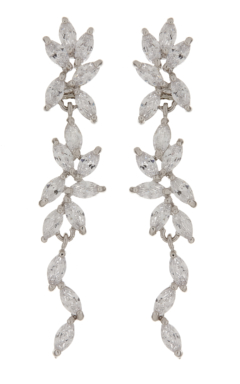 Clip On Earrings - Alison - silver luxury earring with clear cubic zirconia stones