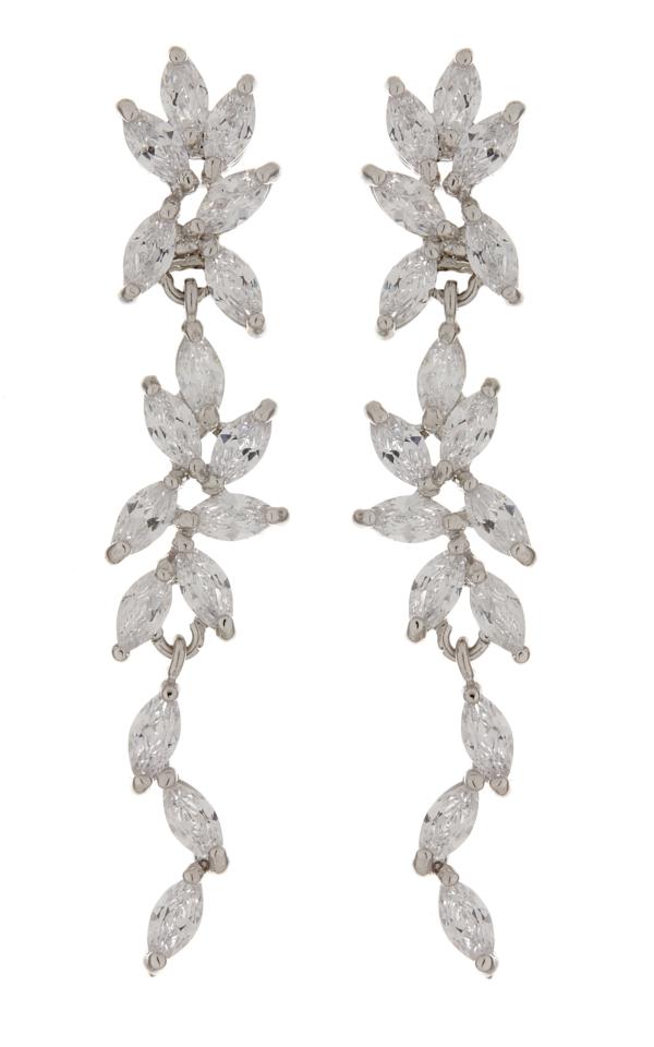 Clip On Earrings - Alison - silver luxury earring with clear cubic zirconia stones