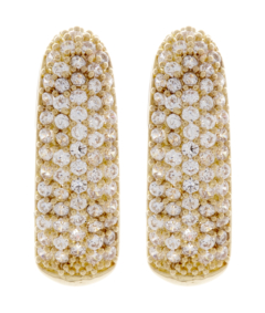 Clip On Earrings - Alma G - gold earring with clear cubic zirconia stones