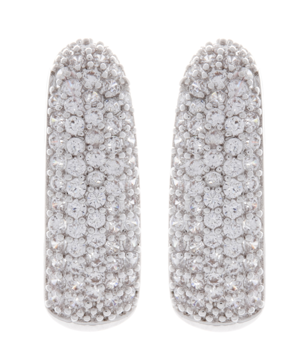 Clip On Earrings - Alma S - silver earring with clear cubic zirconia stones