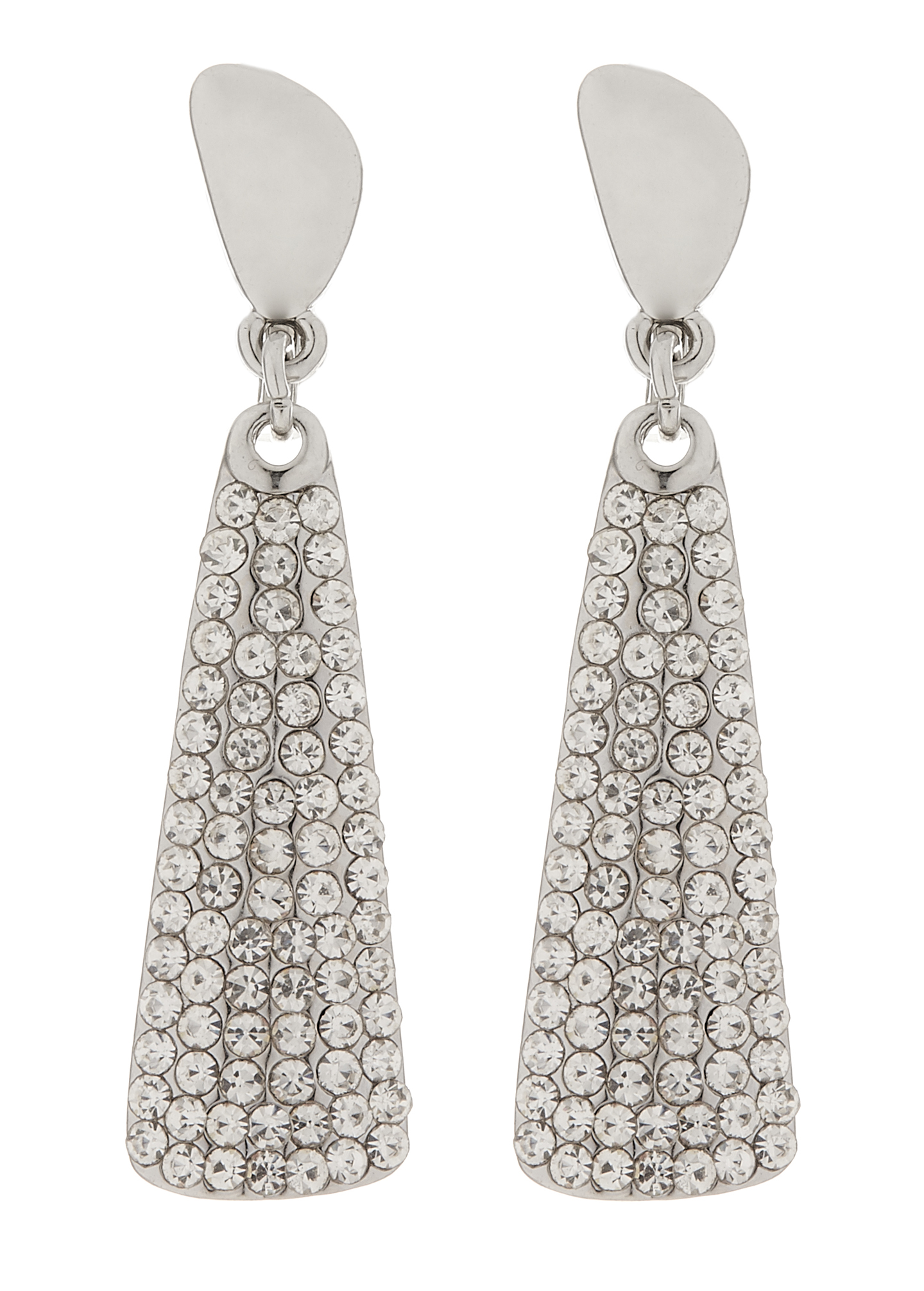 Clip On Earrings - Amber S - silver drop earring with clear crystals