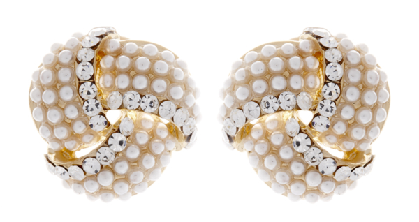 Clip On Earrings - Amelia - gold knot pearl stud earring with clear crystals