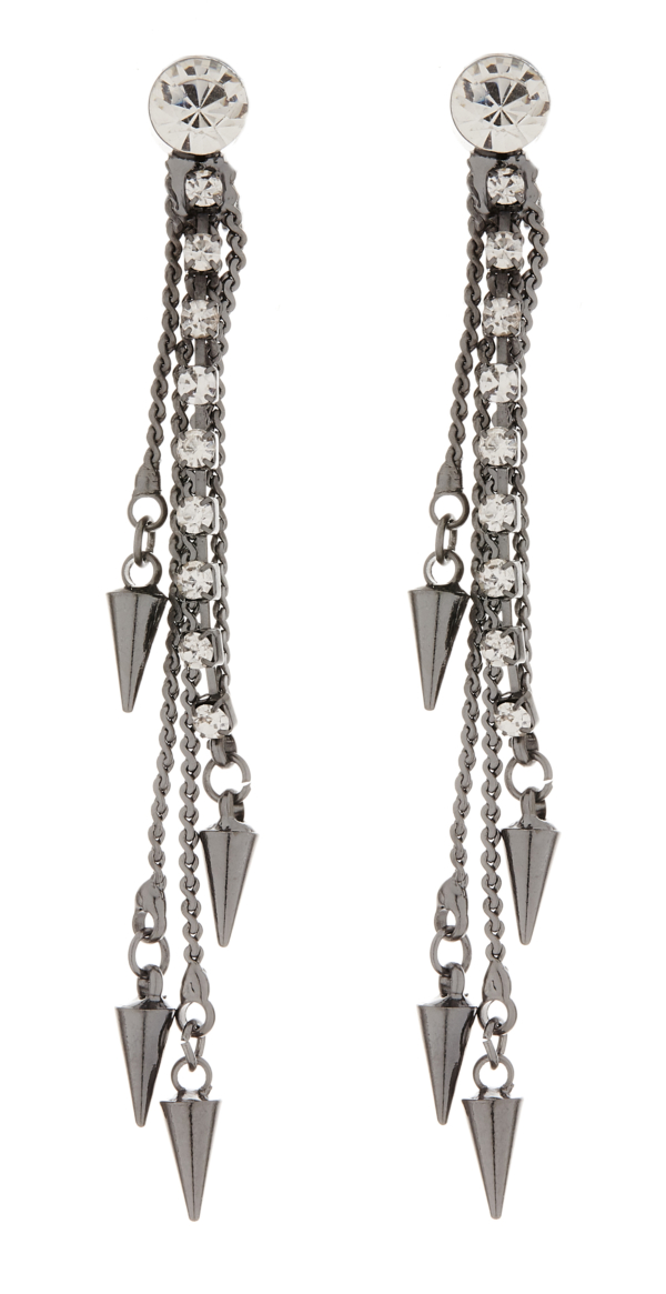 Clip on earrings - Amy - gunmetal grey drop earring with a clear crystal strand and chains