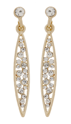 Clip On Earrings - Andie - gold drop earring with clear crystals