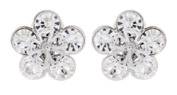 Clip On Earrings - Angel - silver flower stud earring with clear crystals