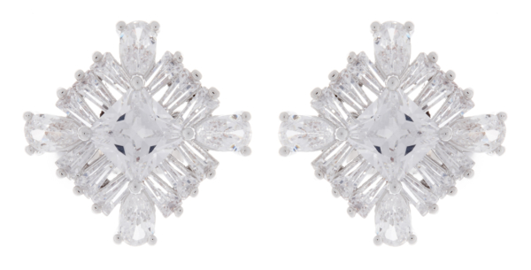Clip On Earrings - Anna - silver luxury earring with clear cubic zirconia stones