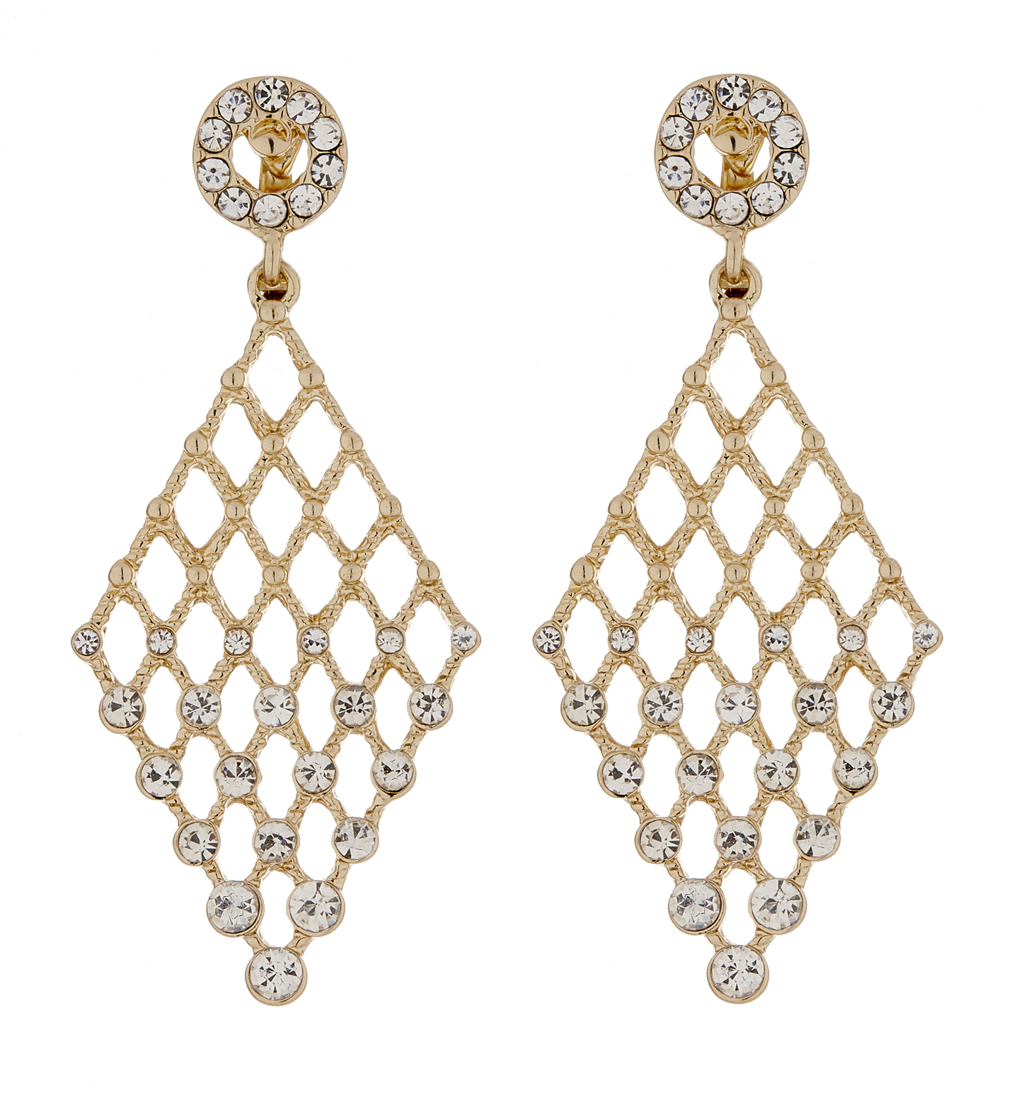 Clip On Earrings - Annie G - gold chandelier earring with clear crystals
