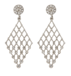 Clip On Earrings - Annie S - silver chandelier earring with clear crystals