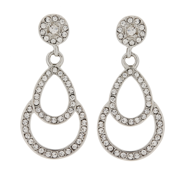 Clip On Earrings - Antonia - silver drop earring with clear crystals