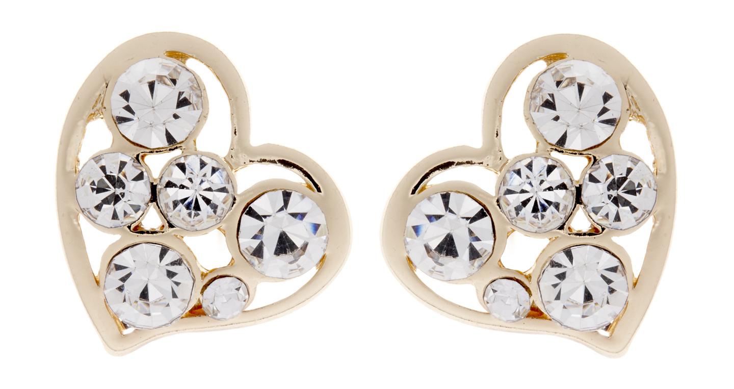 Clip on earrings - April G - gold heart earring with clear stones