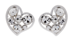 Clip on earrings - April S - silver heart earring with clear stones