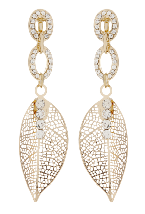 Clip On Earrings - Ava - gold leaf earring with clear crystals