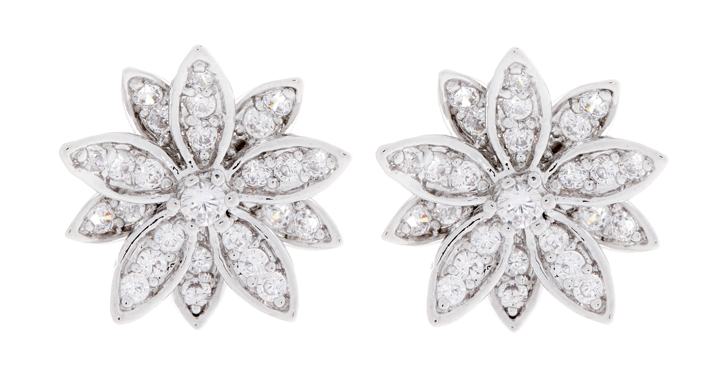 Clip On Earrings - Avril - silver flower earring with clear crystals